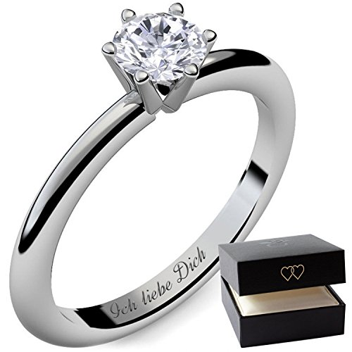 Verlobungsring Ring Damen Silber 925 von AMOONIC Zirkonia Stein mit GRAVUR & ETUI-BOX Silberring Frau Verlobungsringe Damenring rhodiniert Echt Schmuck Antragsring AM195SS925ZI50