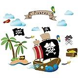 decalmile Barco Pirata Pegatinas de Pared Habitación Infantiles Adhesivos Pared Dormitorio Salón Guardería Niños Bebés Mural Pared Tema Pirata Decoración