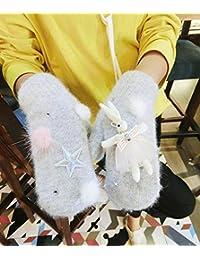 Guantes blandos La versión coreana de los pedrería estrella de cinco puntas  del conejo rosado del dac1b9e970f