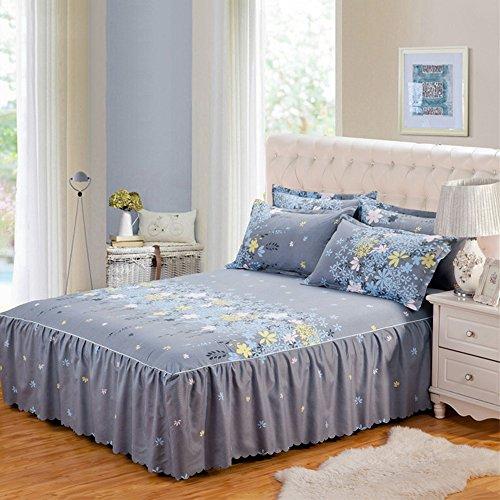 Yunhigh plisseed valance Bettwäsche plain Rüsche Königin Größe Bett Rock Baumwolle elastisch frilled Bettdecke - grau (Königin Bettbezug Grau)