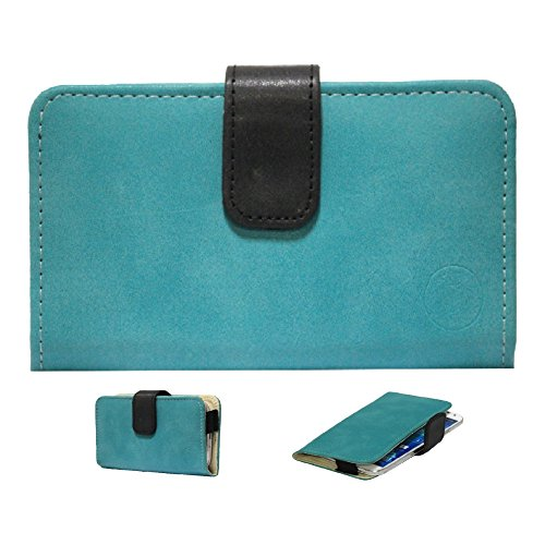 Jo Jo A8 Nillofer Leather Carry Case Cover Pouch Wallet Case For Lenovo S850 Light Blue Black  available at amazon for Rs.295