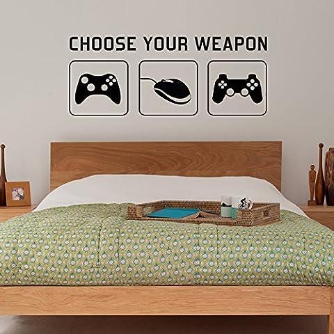 Radecal - Vinilo decorativo para pared para dormitorio, 1 m, diseño de PC, Xbox, PlayStation, mando de juego y texto en inglés