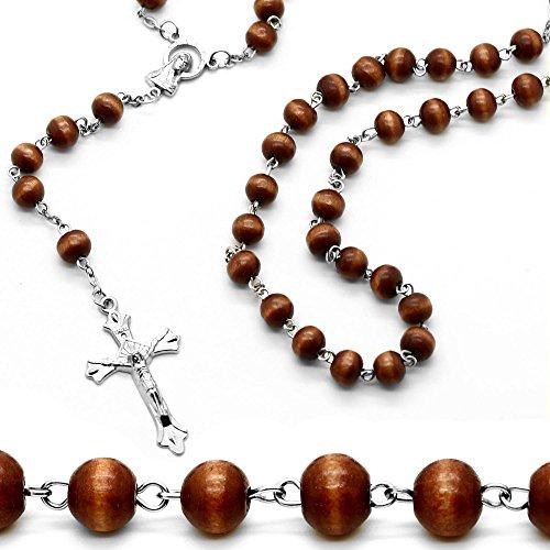 Chapelet Rosaire collier chaine avec une croix perles en bois noir brun beige 50 cm pendentif crucifix