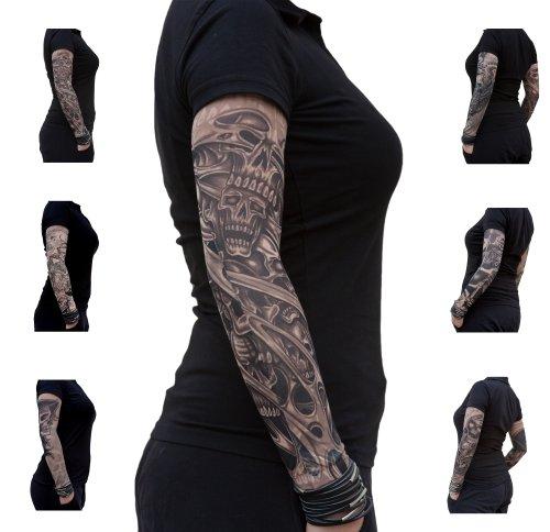 Oblique Unique® Nylon Tattoo Ärmel - Totenkopf - Skull - Einzeln oder als 6er Set (The King)