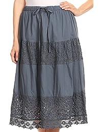 Sakkas Celeste Boho Lace Skirt With Elastic Waistband