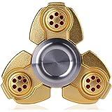 Morningsilkwig Dedo Spinner Parte spinnner Metal Zinc Alloy Material Hand Spinner For Autism Rotation Time Long Anti Stress Fast Spinning Juguetes educativos(Gold)