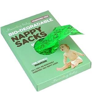 Beaming Baby Lot de 300 sacs biodégradables pour couches sans parfum, 5 rouleaux de 60 sacs