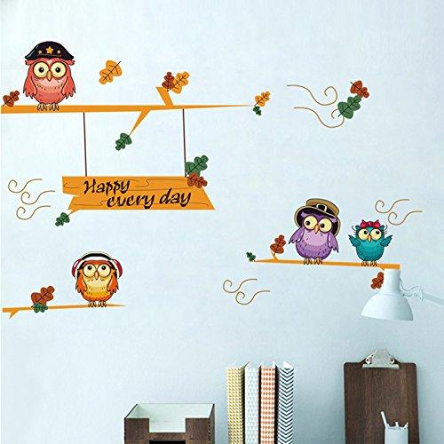 Gosunfly Dekorativer Aufkleber Des Kreativen Karikatur Niedlichen Eulenbabyraumdekorationswandaufkleberkinderschlafzimmer-Nachttisch-Plans