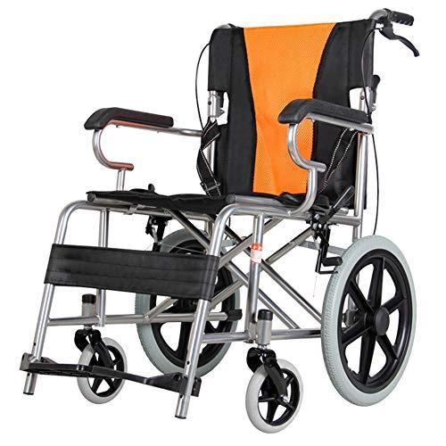 ACEDA Faltbarer Rollstuhl Mit Rutschfest Armlehnen,11Kg Leichter Dicker Stahl,Transportrollstuhl Reiserollstuhl,Sitzbreite 50CM,Belastbarkeit 140Kg,Fußpedal 3 Höhenverstellbar,Black*Orange -