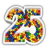 ocballoons Portaconfetti Polistirolo Personalizzabile Numero Nome Scritta Sagome confettata Nomi Contenitore Caramelle Confetti Personalizzato (Numero 25)