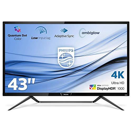 Philips monitor 436M6VBPAB/00 - Monitor 4K de 43' (resolución 3840 x 2160 píxeles, 4K Ultra HD, IPS, 4ms) color Negro
