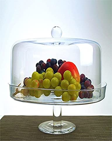 Glass Handmade Cake Stand Fruit Serving Footed Plate With Dome