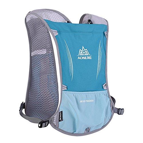 AONIJIE 5L Acqua leggero esterna dello zaino di idratazione escursionismo escursioni in bicicletta Sport Bag con Bottle Holder per 1.5L Water Bag (Azzurro)