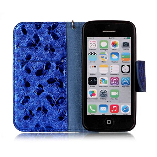 Cover iPhone 5C,Custodia iPhone 5C,Custodia Cover Case per iPhone 5C,Etsue Ultra Slim Portafoglio Pu Wallet Case Cover Leather in Pelle Flip Cover Custodia per iPhone 5C Laser Deisgni Bella Farfalla M blu