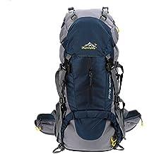Lixada Zaino da Trekking Zaini da Escursionismo 50L Impermeabile Sport Trekking Escursioni Campeggio Viaggio Arrampicata Zaino con Copertura della Pioggia (blu) (blu)