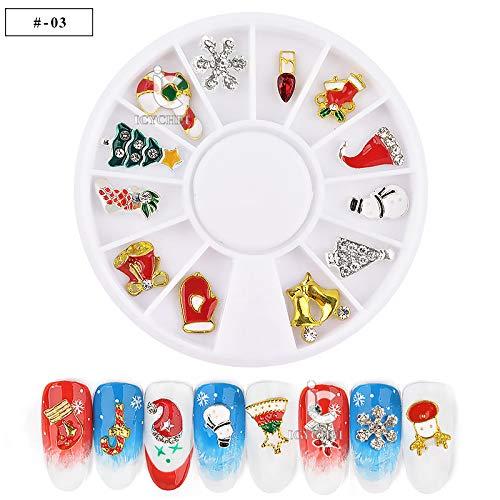eihnachten Nail Art Dekoration 12 Formen Strass Rad DIY Werkzeug Maniküre Rentier Kranz Weihnachtsbaum ()