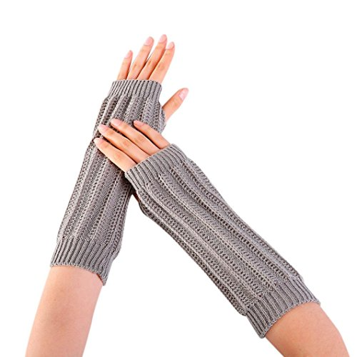 Saingace Mode Frauen Winter Handgelenk Arm wärmer gestrickt lange fingerlose Handschuhe Handschuh (Grau) (Handschuhe Arm Wärmer)