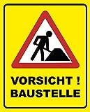 Vorsicht Baustelle Schild | 20 x 25 cm | Hinweisschild 3mm | stabile Hartschaumplatte