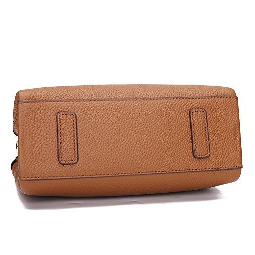 Damen Jahrgang Weiches Leder Handtasche Tote Satchel Schultertasche Top Handle Handtasche Braun