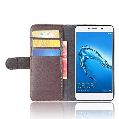 SMTR Huawei Y7 Echt Leder & PU-Leder Tasche Hülle, Klassische Handyhülle Case Etui mit Kartenfach und Standfunktion im Bookstyle für Huawei Y7, Braun