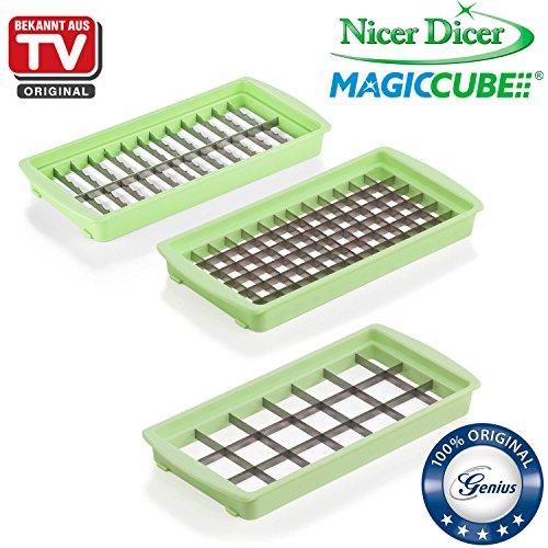 Genius Nicer Dicer Magic Cube Ustensile de cuisine pour découper les aliments en cubes, vert