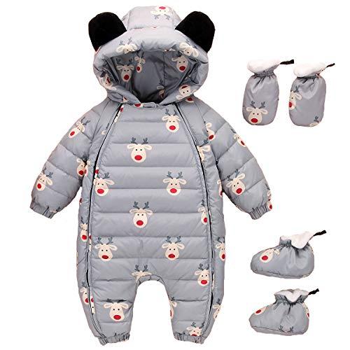 Zoerea Neonato Pagliaccetto Invernale Ragazza Ragazzi Tute da Neve con Cappuccio Infantile Un Pezzo Caldo Giubbotto Cappotto Grigio, Etichetta 80