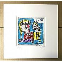 quadro moderno su tela, titolo (il piccolo principe) Riproduzione su tela con retouche, olio su tela, opera certificata di Alessandro Siviglia 15x15 cm con passepartout 23x23 cm foro centrale 12x12 cm