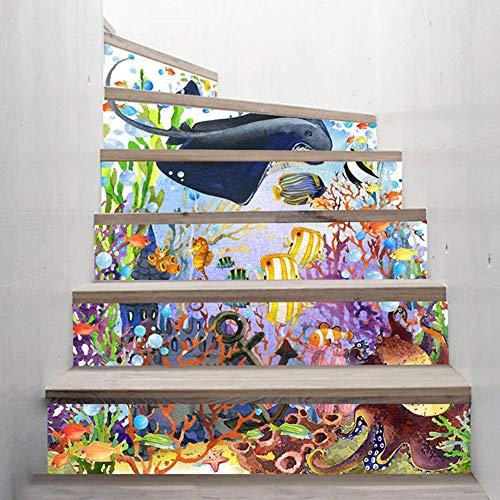 WYKDL 6 Stücke Ozean Treppe Schritt Aufkleber Aufkleber Treppe Riser Aufkleber Peel und Stick Schritt Kontakt Papier DIY Aufkleber Treppe Aufkleber Treppe Wandtattoo 3D Tapete Vinyl Aufkleber Abnehmba