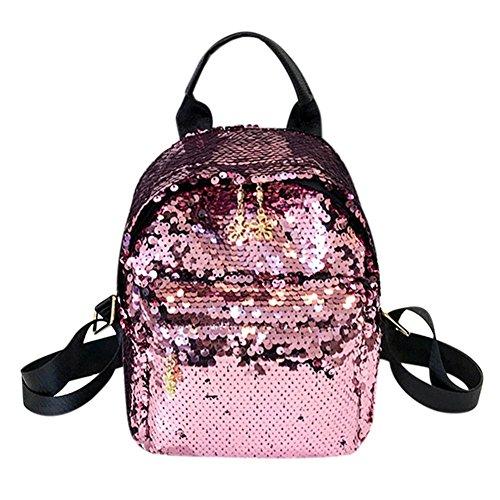 Demiawaking Zaino Casuale con Paillettes Glitterate Zaino di Viaggio Borsa da Scuola per Ragazze (Rosa)