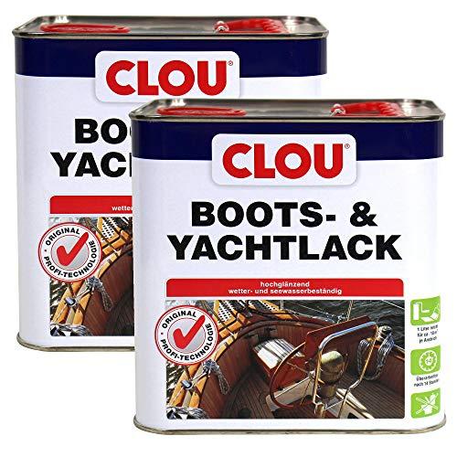 CLOU Boots- & Yachtlack, 2 x 2,5 l, hochglänzender wetter - und seewasserbeständiger Klarlack