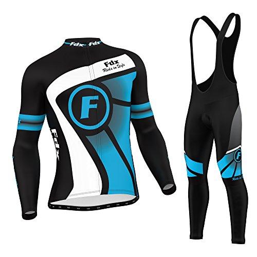 FDX Enganliegende Fahrradbekleidung, Herren, thermisches Oberteil mit Leggins in Latzhosen-Stil, Set xl blau