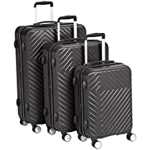 AmazonBasics 3 Piece Geometric Hard Shell Expandable Luggage Trolley Suitcase Set - Black