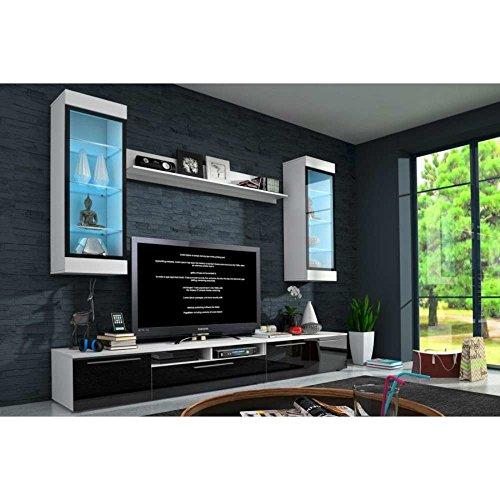 JUSThome Savani Wohnwand Anbauwand Schrankwand Farbe: Weiß Matt / Weiß-Schwarz Hochglanz
