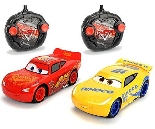 "Dickie Toys 203087005 - \""Cars 3 Twin Pack Turbo Racer Lightning McQueen + Cruz Ramirez\"", RC Fahrzeug Set, ferngesteuerte Autos, 1:24, 17cm"