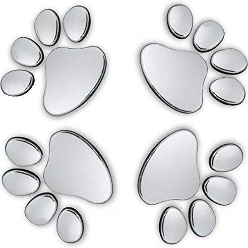 MINGZE 4 Stück 3D Chrom Hund Pfote Fußabdruck Auto Aufkleber, Autozubehör Pfotenabdruck Auto Emblem Aufkleber Dekoration Abzeichen (Silber)