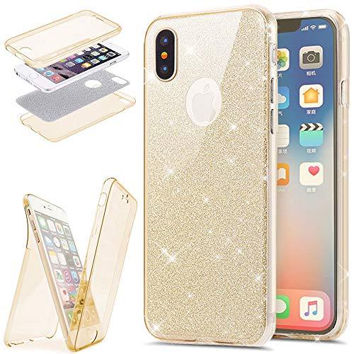 EINFFHO iPhone X/XS Hülle, 360 Full-Body Vorne+Hinten Rundum Schutz Tasche Etui Kristall Klar Glänzend Glitzer Durchsichtig Silikon Hülle Schutzhülle für iPhone X/XS (Gold)