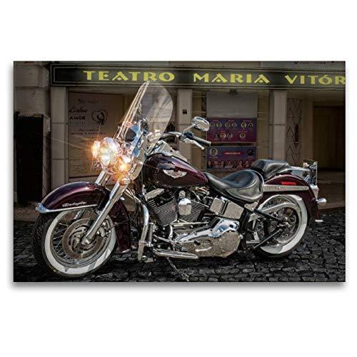 Premium Textil-Leinwand 120 x 80 cm Quer-Format Harley-Davidson Heritage De Luxe | Wandbild, HD-Bild auf Keilrahmen, Fertigbild auf hochwertigem Vlies, Leinwanddruck von N N