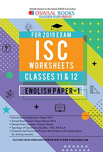 Oswaal ISC Worksheet Class 10 English Paper 1 (For March 2019 Exam)