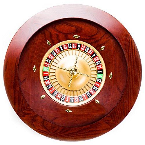"Brybelly Casino Grade Deluxe Roulette-Rad aus Holz, GROU-003, Rot/Braun-Mahagoni, 19.5\"""