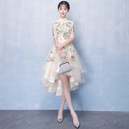 MOM Bankett Abendkleid Elegante Cheongsam Kurze Kurze Vordere Lange Kleid Kleid Chinesischen...