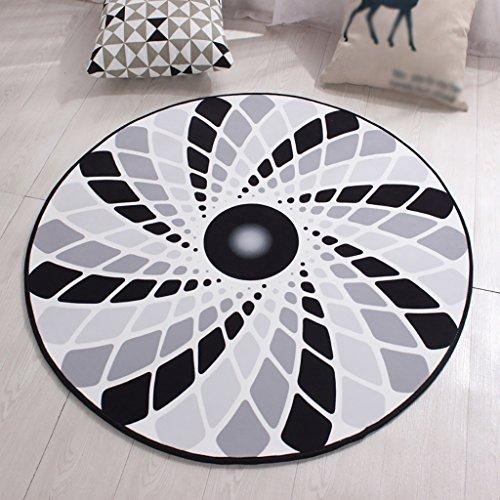 Cqq Teppich Ländliches Wohnzimmer Bereich Teppiche Runde Geometrische Muster Schlafzimmer Bereich Teppiche Weiche rutschfeste Teetisch Computer Stuhl Matten ( größe : 1m*1m ) (Geometrischen Teppich Bereich)