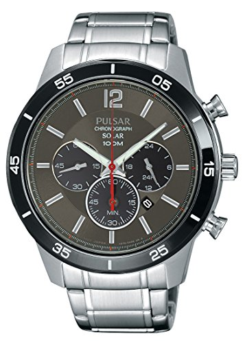 Pulsar Solar Chronograph Grey Dial Stainless Steel Bracelet Gents Watch PX5045X1