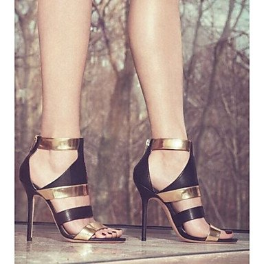 LvYuan Sandali-Ufficio e lavoro Formale Casual Serata e festa-Alla schiava Club Shoes-A stiletto-Finta pelle-Argento Dorato Gold