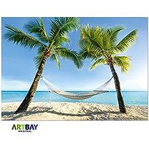 Playa de sueños, póster XXL - 118,8 x 84 cm, sensación de vacaciones para el hogar y la oficina, hamaca debajo de dos palmeras en la playa romántica del Caribe, playa de sueños, hamaca y mar | Cartel para la pared, foto, decoración de la pared de alta resolución de ARTBAY