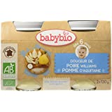 Babybio Pots Douceur de Poire Williams/Pomme d'Aquitaine 260 g - Lot de 6