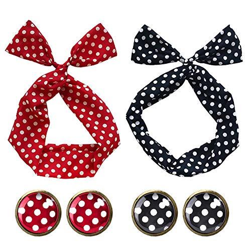 50er Jahre Kostüm Accessoires Damen 1950s Zubehör Set Polka Dots Bunny Ohr Haarband Polka Dot Ohrstecker Ohrringe für Damen und ()