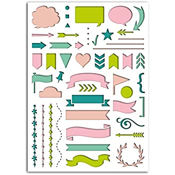 Toga D.I.Y with LR002 Pochoir Bannières Bullet Journal Plastique Transparent 15 x 21 x 0,2 cm