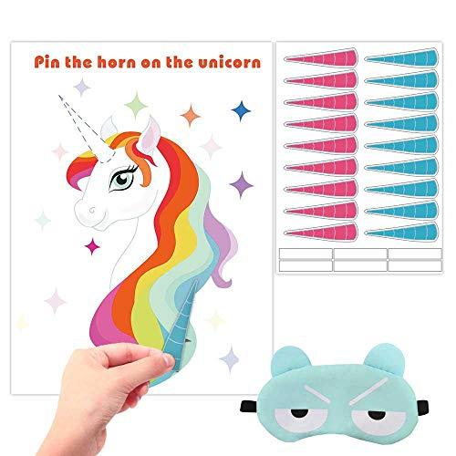 KOBWA Pin The Horn on The Unicorn Party Spiel, Einhorn-Motto Party Supplies Set, Kids Party Supplies Einhorn Geschenke inklusive Poster, 18 Wiederverwendbare Aufkleber und Augenbinde Stil 1