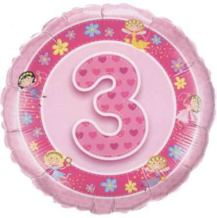 ballon '3. Geburtstsg - Feen', pink, ca. 45 cm Ø, ohne Gasfüllung/ohne Gruß-Karte ()