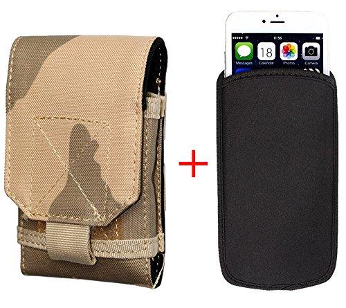 xhorizon® Beutel Hülle Combo [Taktische Molle] [Elastische Neopren] Für iPhone 6 Plus 5.5 Zoll Haken SchleifeGürtelholster Case Hülle Tarnung Khaki